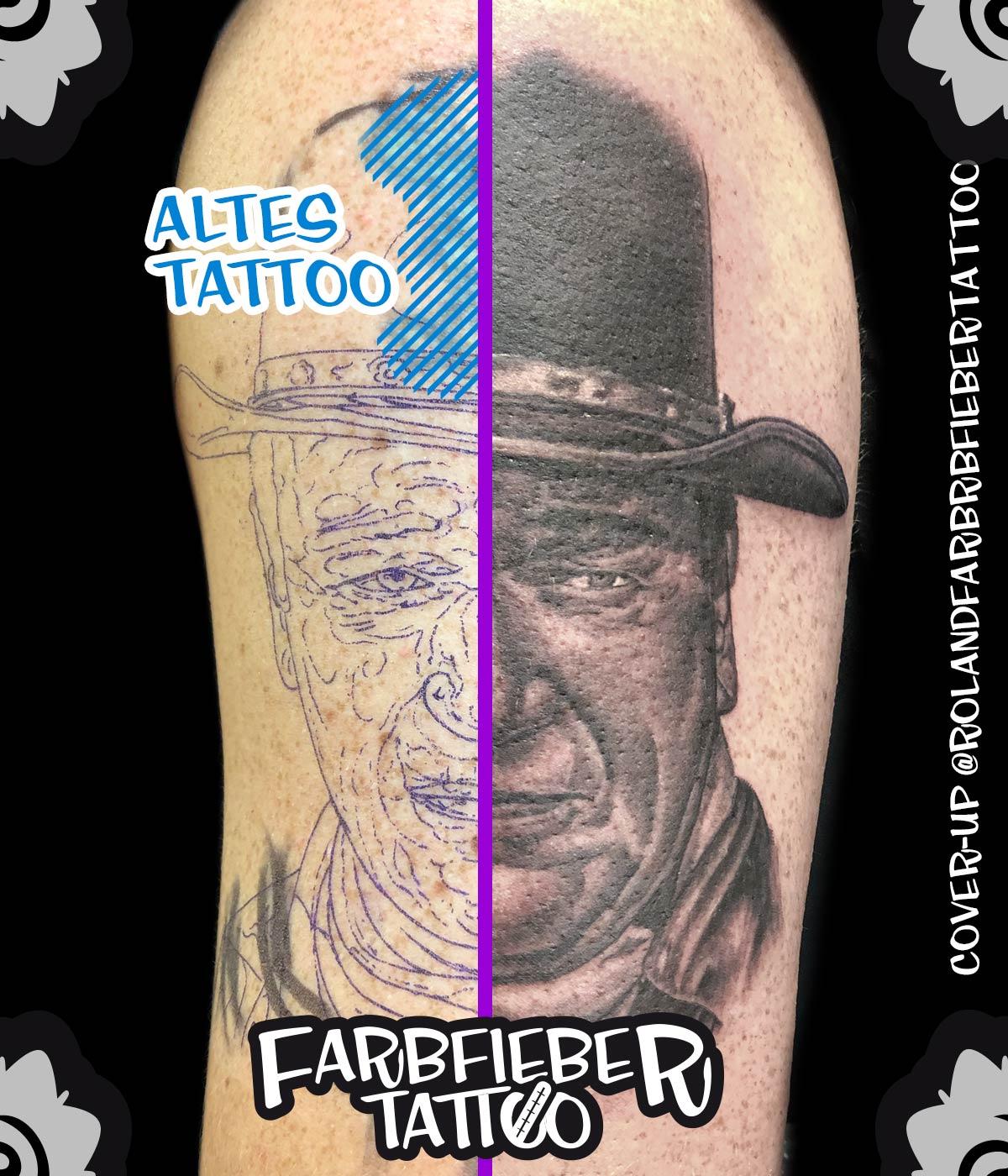 John Wayne Überdeckung gestochen tätowiert von Roland Inhaber Farbfieber Tattoo