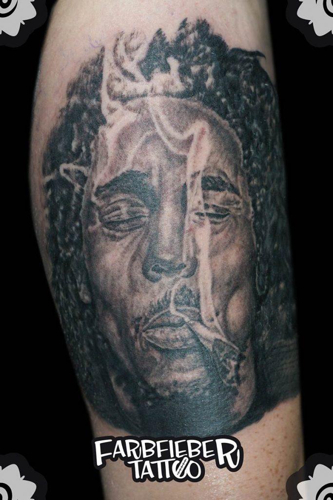 Bob Marley tätowiert von Roland vom Farbfieber Tatttoo